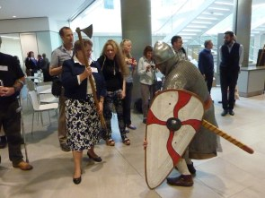 Saxon warrior brought to his knees by lady in sensible shoes (and an axe)