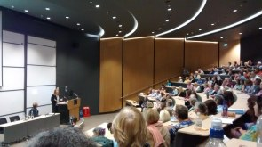 Tracy Chevalier addressing a packed Hall